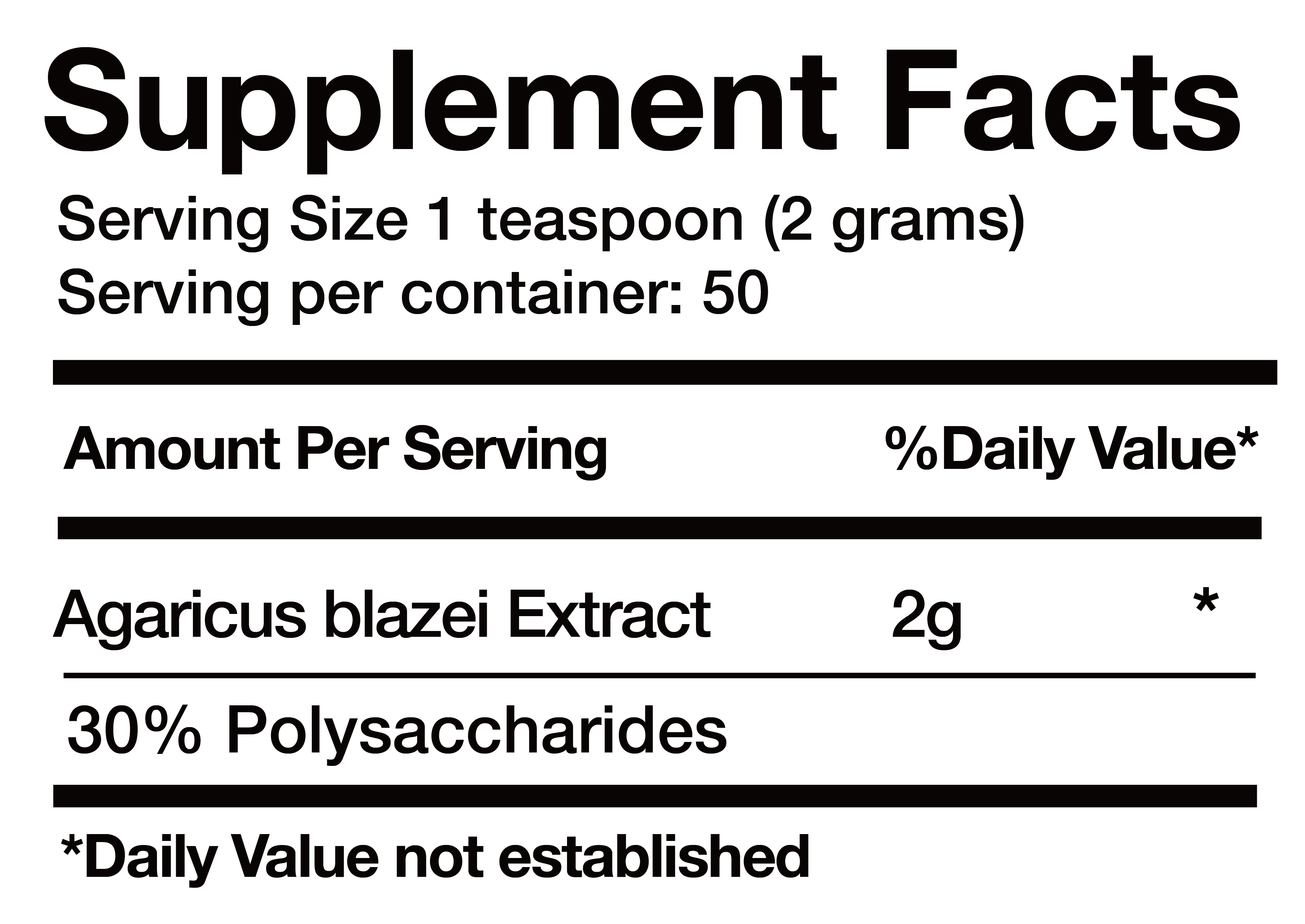 Agaricus blazei Extract nutrition facts